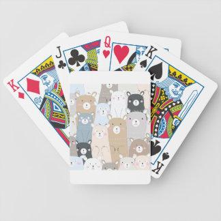 het leuke patroon van de teddybeer blauwe grijze poker kaarten