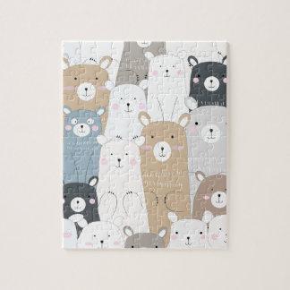 het leuke patroon van de teddybeer blauwe grijze puzzel