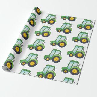 Het leuke Patroon van de Tractor Inpakpapier