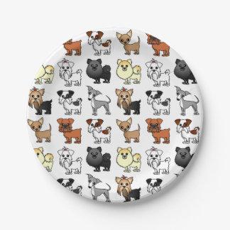 Het leuke Patroon van het Hondenras van het Papieren Bordje
