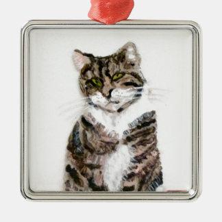 Het leuke Portret van het Huisdier van de Kat van Zilverkleurig Vierkant Ornament