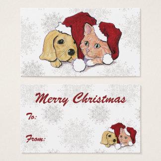 Het leuke Puppy van Labrador van Kerstmis en Visitekaartjes