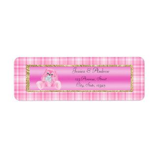 Het leuke Roze Baby shower van het Konijntje Etiket