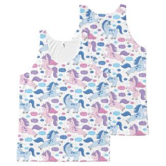 Het leuke roze en blauwe Mouwloos onderhemd van All-Over-Print Tank Top