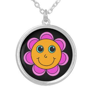 Het leuke Roze en Oranje Gezicht van Smiley van de Zilver Vergulden Ketting