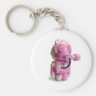 Het leuke Roze Hart Keychain van de Robot Sleutelhanger