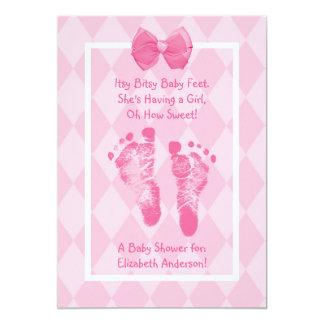 Het leuke Roze Lint van het Baby shower van de Kaart