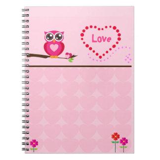 Het leuke Roze Notitieboekje van de Uil Notitieboek