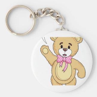 Het leuke Spreuk van de Teddybeer hallo Basic Ronde Button Sleutelhanger