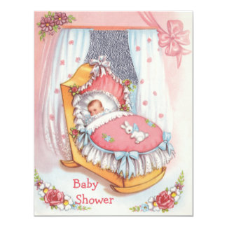 Het leuke Vintage Meisje van het Baby in het Roze Kaart