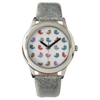 Het leuke Zilver van het Patroon van Vogels Horloges