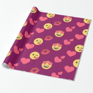 Het leuke Zoete Roze Patroon van de Kus van de Cadeaupapier