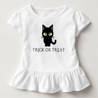 Het leuke Zwarte Overhemd van Halloween van de Kat Kinder Shirts