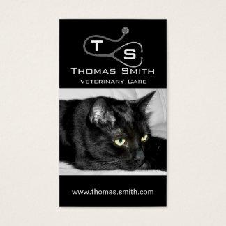 Het leuke Zwarte Portret van de Kat Visitekaartjes