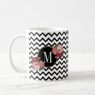Het leuke Zwarte Witte Monogram van de Rozen van Koffiemok