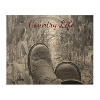 """Het Leven 10 van het land """" x8"""" het Houten Art. Afdrukken Op Hout"""