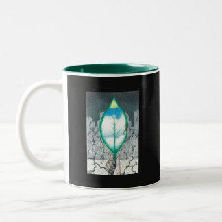 Het leven in een Blad - (uitdrukking op rug) Tweekleurige Koffiemok