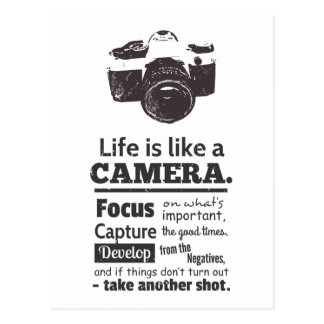 Het leven is als een cameracitaat, Zwarte Grunge Briefkaart