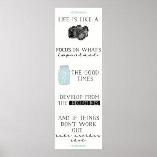 Het leven is als een Citaat van de Camera: Poster