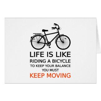 het leven is als het berijden van een fiets, kaart