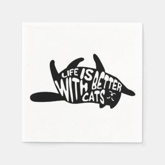 Het leven is beter met katten | Typografie van de Papieren Servetten