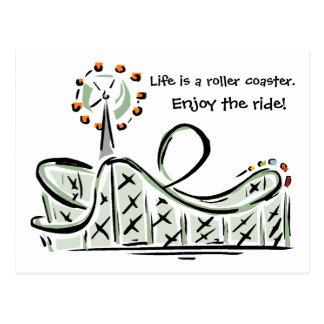 Het leven is een Achtbaan. Geniet van de Rit! Briefkaart