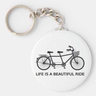 Het leven is een mooie rit, fiets achter elkaar sleutelhanger