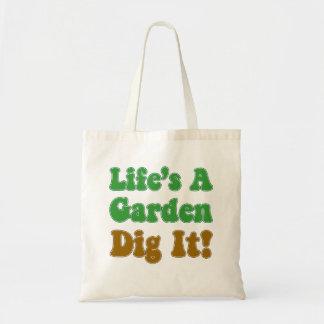 Het leven is een Tuin graaft het Canvas tas