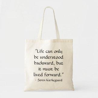 Het leven kan slechts begrepen achteruit… draagtas