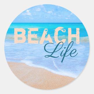 Het Leven van het strand. Het blauwe Zee van Aqua Ronde Sticker