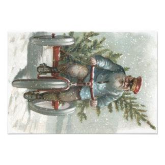 Het Leveren van de Kerstman Kerstboom Met drie Foto Kunst
