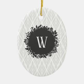 Het lichtgrijze en Witte BladMonogram van het Keramisch Ovaal Ornament