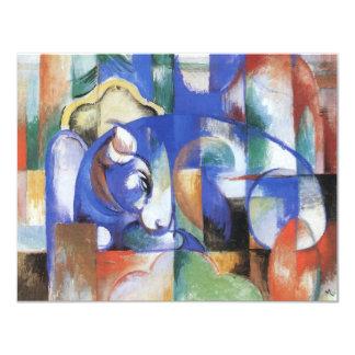 Het liggen Stier door Franz Marc, Vintage Kubisme 10,8x13,9 Uitnodiging Kaart