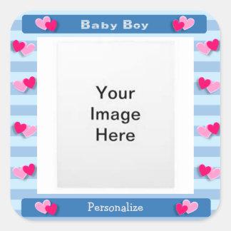 Het Lijst van de Foto van de Jongen van het baby Vierkante Sticker