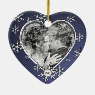 Het Lijst van de Sneeuwvlok van twee Harten Keramisch Hart Ornament