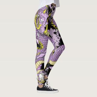 Het lila en Gele Tattoo van de Draak van de Plons Leggings