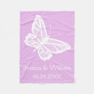 Het lila en Witte Huwelijk van Vlinders Fleece Deken