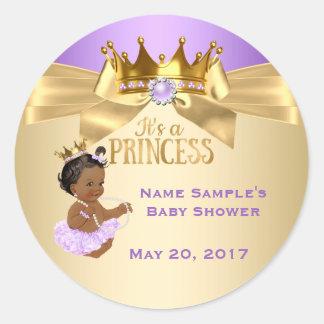 Het lila Gouden Etnische Baby shower van de Ronde Sticker