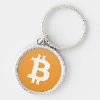 Het logo van Bitcoin in sinaasappel en wit Sleutelhanger