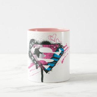 Het Logo van de Harten van Supergirl Tweekleurige Koffiemok