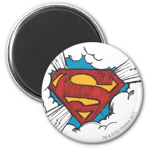 Het logo van de superman in wolken koelkast magneet