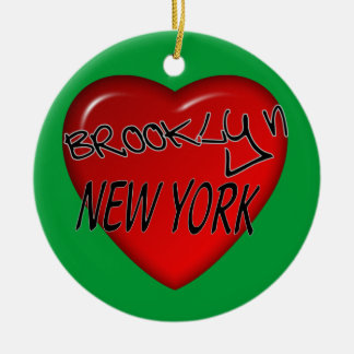 Het Logo van het Hart van Brooklyn New York Rond Keramisch Ornament