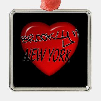 Het Logo van het Hart van Brooklyn New York Zilverkleurig Vierkant Ornament