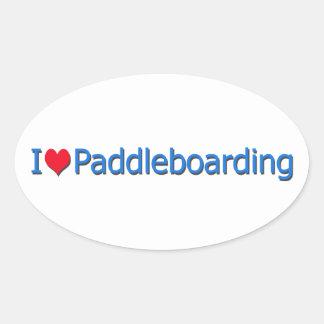 """Het Logo van het Hart van I """"van Paddleboarding"""" Ovale Sticker"""