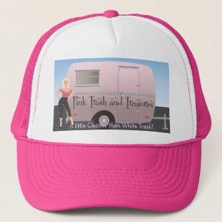 Het logo van het roze Afval en van Schatten Trucker Pet
