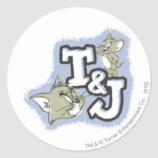 Het Logo van Tom en van Jerry T&J Ronde Sticker
