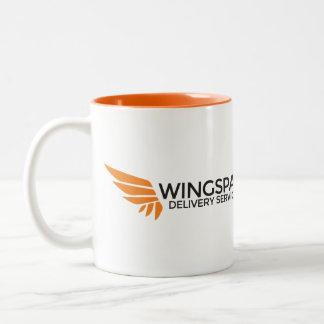 Het logomok van de Diensten van de Levering van de Tweekleurige Koffiemok
