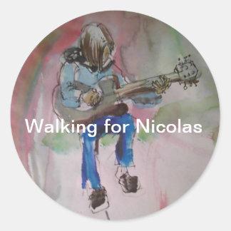 het lopen voor Nicolas voor Ronde Sticker