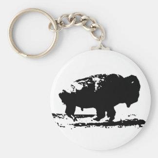 Het lopende Pop-art van de Bizon van Buffels Basic Ronde Button Sleutelhanger