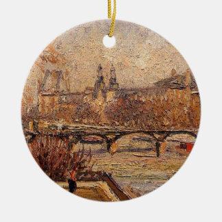 Het Louvre, Ochtend door Camille Pissarro Rond Keramisch Ornament